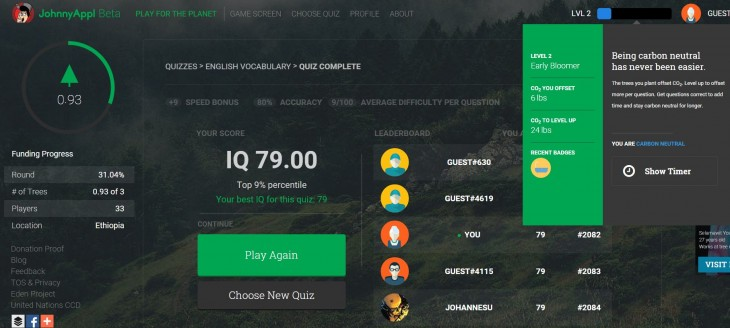 Un juego online que ayuda a plantar árboles en varios países